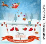santa claus sleigh fly over the ... | Shutterstock .eps vector #516100348