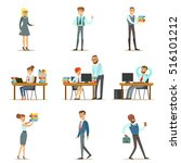 happy office employees and... | Shutterstock .eps vector #516101212