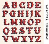 retro alphabet. vintage western ... | Shutterstock .eps vector #516105196
