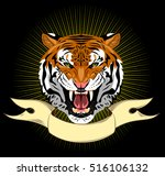 portrait of a bared tiger... | Shutterstock .eps vector #516106132