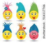 Set Of Cute Emoticons With...