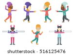happy people playing in... | Shutterstock .eps vector #516125476