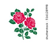 silhouettes of rose isolated on ... | Shutterstock .eps vector #516128998