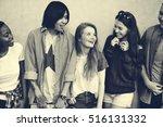 diverse group people meet up... | Shutterstock . vector #516131332