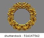 golden  baroque  circle frame ... | Shutterstock . vector #516147562