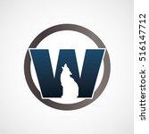 logo wolf in w logotype simple... | Shutterstock .eps vector #516147712