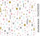 tribal hand drawn background.... | Shutterstock .eps vector #516153325