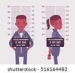 mugshot of a young black woman... | Shutterstock .eps vector #516164482