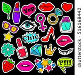 colorful fun set of girl's... | Shutterstock .eps vector #516168442