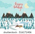merry christmas landscape....   Shutterstock .eps vector #516171406