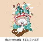 vector mushroom character... | Shutterstock .eps vector #516171412