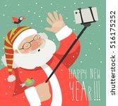 cartoon style santa claus... | Shutterstock .eps vector #516175252