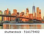 view to manhattan skyline form... | Shutterstock . vector #516175402