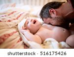 unrecognizable father tickling... | Shutterstock . vector #516175426