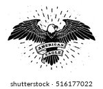 Stock vector hand drawn eagle with ribbon for text 516177022