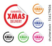 christmas delivery tag label | Shutterstock .eps vector #516179836