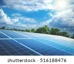 solar panels with sun and... | Shutterstock . vector #516188476