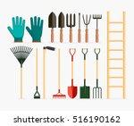 set of garden tools and... | Shutterstock .eps vector #516190162