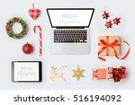 christmas decorations  laptop... | Shutterstock . vector #516194092