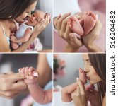 close up of baby's hands and... | Shutterstock . vector #516204682