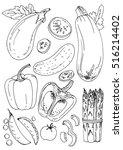set of vegetables. fresh food.... | Shutterstock .eps vector #516214402