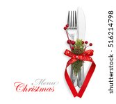 christmas menu concept with red ... | Shutterstock . vector #516214798