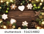 christmas cookies and ornaments ... | Shutterstock . vector #516214882