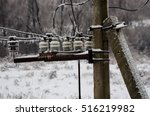 power lines on the pole. winter ... | Shutterstock . vector #516219982