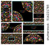 vector set of artistic creative ... | Shutterstock .eps vector #516221785