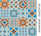 decorative blue and orange tile ...   Shutterstock .eps vector #516229726