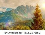 Scenic Italian Dolomites Mountain Vista. Italy, Europe. - stock photo