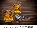 two glasses with ice and... | Shutterstock . vector #516253282