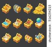 treasure chests isometric...   Shutterstock .eps vector #516254215