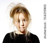 disheveled preschooler girl... | Shutterstock . vector #516255802