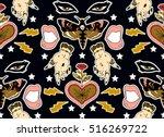 seamless pattern. butterfly ... | Shutterstock .eps vector #516269722