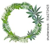 a wreath of tropical leaves. | Shutterstock .eps vector #516272425