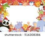 animals frame at christmas | Shutterstock . vector #516308386