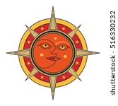 sun and moon face traditional... | Shutterstock .eps vector #516330232