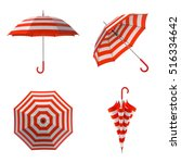 summer beach red umbrella... | Shutterstock . vector #516334642
