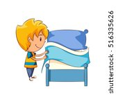 kid making the bed | Shutterstock .eps vector #516335626