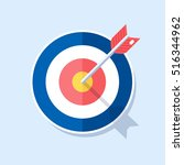 red darts  target arrow ... | Shutterstock .eps vector #516344962