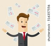 happy businessman or manager... | Shutterstock .eps vector #516357556