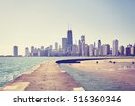 vintage toned photo of chicago... | Shutterstock . vector #516360346
