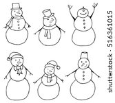 collection of snowmen coloring... | Shutterstock .eps vector #516361015