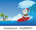 cartoon santa claus surfing a... | Shutterstock .eps vector #516389872