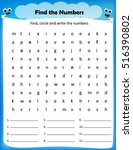 worksheet   find the numbers... | Shutterstock .eps vector #516390802