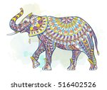 patterned elephant on the... | Shutterstock .eps vector #516402526