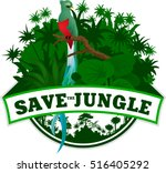 vector jungle emblem with sloth | Shutterstock .eps vector #516405292
