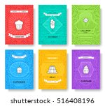 cake thin line brochure cards... | Shutterstock .eps vector #516408196