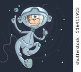 monkey astronaut on a stars... | Shutterstock .eps vector #516411922